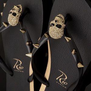9f2a35fe4 Rio Custom Women s Flip Flops Rocker Skull Black